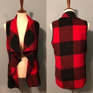 Jackets & Blazers - Fleece draped plaid vest